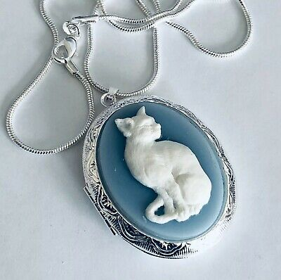 £15.83 • Buy Wedgwood Blue Color CAT CAMEO Silver Pltd LOCKET NECKLACE Quality Victorian Gift