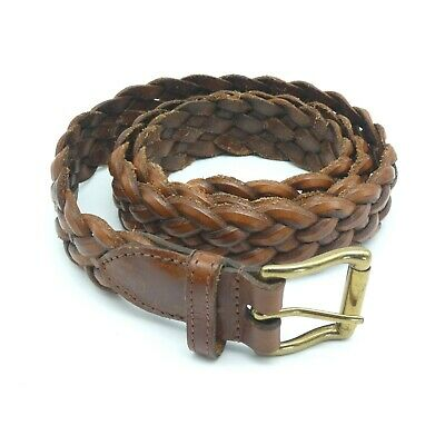 £15.99 • Buy Vintage Thick Real Leather Belt Brown Woven Plaited Unisex Large Size Up To 40