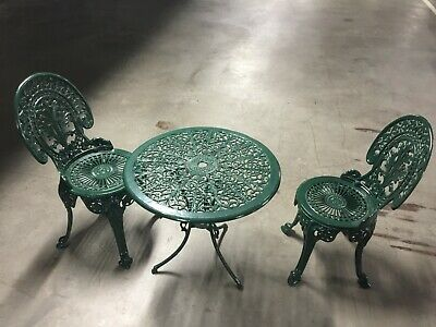 AU450 • Buy Victorian Cast Iron Garden Furniture Setting Of Table And Two Chairs