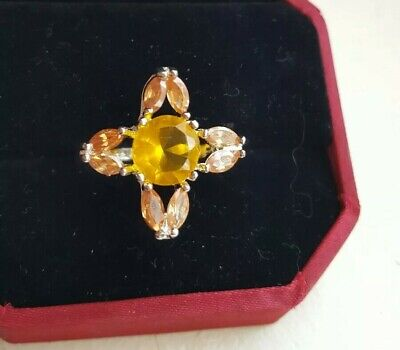 AU13.06 • Buy Unwanted Christmas Present Gift Engagement Silver Golden Citron Cz Ring 6/7 ,M/N