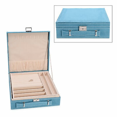 £19.93 • Buy Velvety Briefcase Style 2-Tier Jewelry Box With Anti-Tarnish & Approx 60 Rings