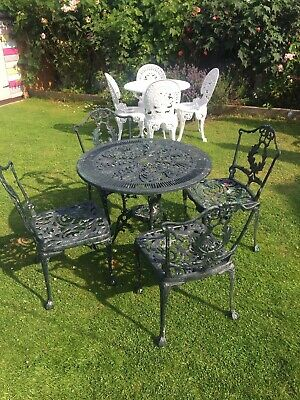 """£225 • Buy Garden Table 32"""" And Four Chairs Cast Metal Antique Style Very Ornate !"""