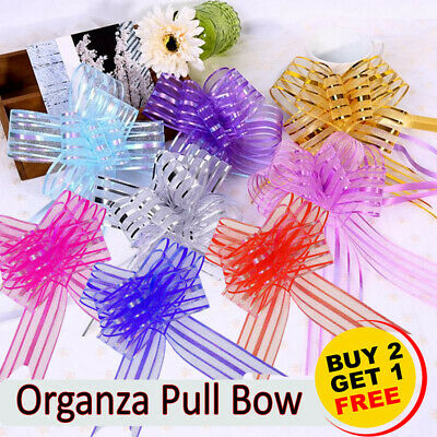 £3.49 • Buy Giant 50mm Organza Butterfly Pull Bows - Craft Florist Pullbow Pew Craft Gift