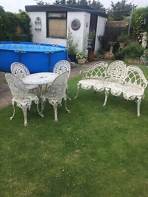 £525 • Buy GARDEN BENCH WITH TABLE AND FOUR CHAIRS 1970's CAST METAL IN ORIGINAL CONDITION