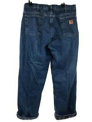 $32.88 • Buy Carhartt B172 DST Relaxed Fit Flannel Lined Straight Leg Jeans Men 35x32