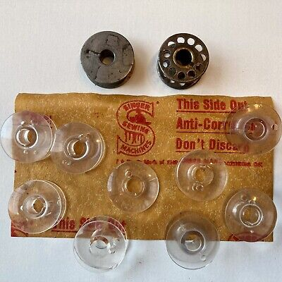 £1.50 • Buy Singer Sewing Machine Bobbins Collection Of 9 Plastic And 2 Metal Bobbins