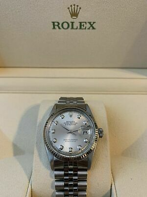 $ CDN10.70 • Buy Rolex Datejust Mens Stainless Steel Jubilee Watch With Silver Diamond Dial 1601