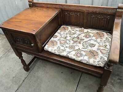 £20 • Buy Vintage Old Charm Style Solid  Oak Telephone Hall Table Seat