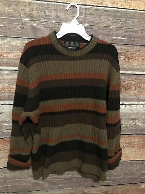 $69.95 • Buy Barbour Mens Striped Crew Neck Sweater Large 100% Wool