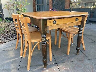 AU399 • Buy Antique English  Table Circa Late 1800s And 4 James Richardson Chairs