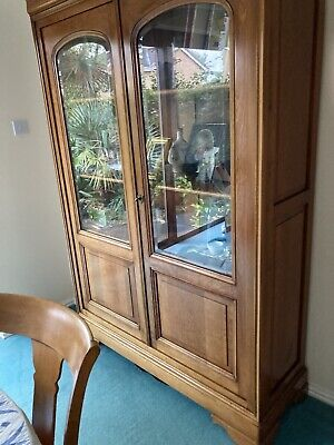 £700 • Buy Bookcase Display Cabinet Solid Wood Glass Locking Doors By Grange Excellent