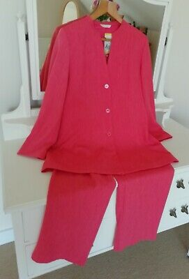 £1.20 • Buy M&S Ladies Bright 2 Piece Coral Occasion Trouser Suit Standard Fit 14/16 - BNWT