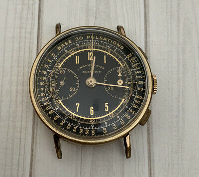 $ CDN1120.23 • Buy Vintage 1940s Election Chronograph Chronometre Valjoux 22 Gold Plated Watch