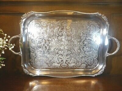 £84.95 • Buy EXC. ANTIQUE Viners ALPHA SILVER PLATE Large 18  CHASED TRAY - 2 HANDLES 22