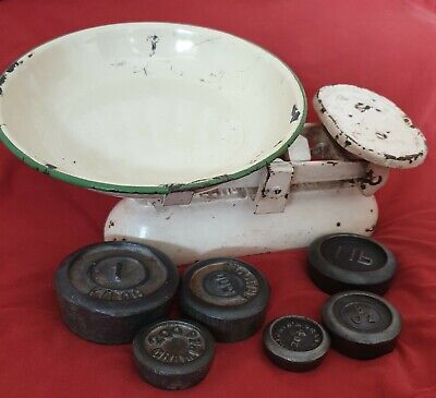 £5.50 • Buy Vintage Kitchen Scales Cream & Green Enamel Pan With Metric & Imperial Weights