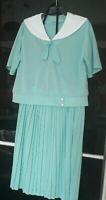 £35 • Buy Pretty Vintage Shirt And Skirt, Light Blue-green Colour, Size UK 18