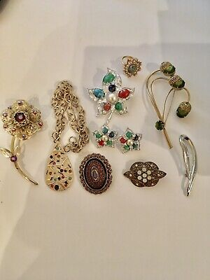 $ CDN25.11 • Buy Lot Of 9 Pieces Vtg. Designer-signed SARAH COVENTRY Jewelry Necklace Pins Ring