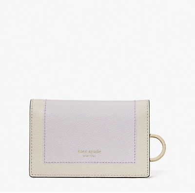 $ CDN75.38 • Buy Kate Spade Margaux Small Leather Bifold Key Ring Wallet Lilac Moonlight New $98