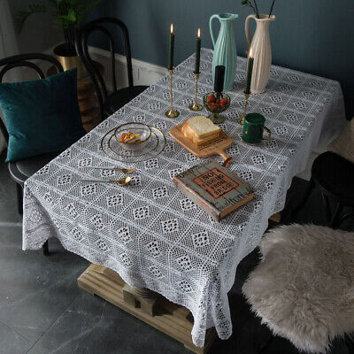 AU12.98 • Buy Knitted Crochet Lace Tablecloth Wedding Party Dining Kitchen Table Cloth Cover