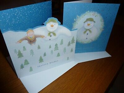 £3.89 • Buy Raymond Briggs The Snowman M&S Christmas Greeting Cards X4 Walking In The Air