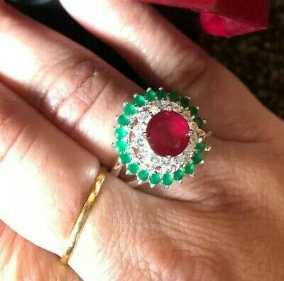AU14.93 • Buy Unwanted Christmas Gift Engagement White GP Ruby Red  And Green Cz Ring 10/T