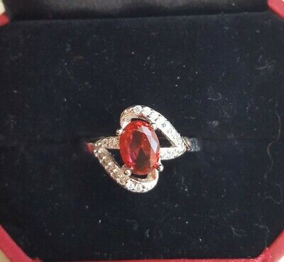 AU13.06 • Buy Unwanted Christmas Present Gift Engagement White GP Ruby Red  Cz Ring 8/P