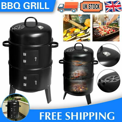 £38.99 • Buy Smoker BBQ Charcoal Grill Portable Outdoor Barbecue Meat Food Cooking Drum Oven