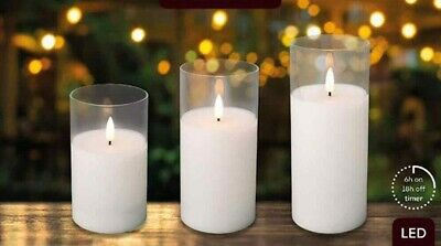 £12.95 • Buy  Authentic Flame Battery Flickering LED Wax Candle Lights Glass Jar 6h Timer