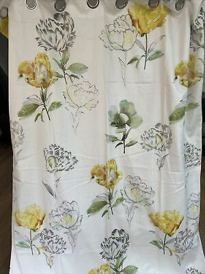 """£35 • Buy Next Curtains 53"""" W X 72"""" L Floral Blackout Yellow Green Silver Ring Top"""