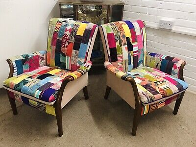 £775 • Buy 2 Parker Knoll  Armchairs Model 759 Newly Upholstered In Patchwork Design