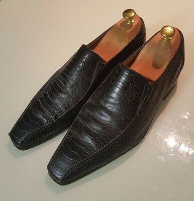 $ CDN345.42 • Buy £900 Artioli - UK9/EU43 Ostrich Shoes Luxury Hand Made In Italy - Black Loafers