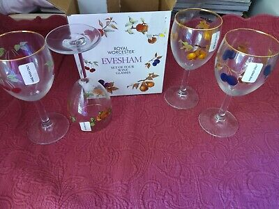 £20.90 • Buy  NEW In Box Of 4 Royal Worcester Evesham Wineglasses (4 Total Glasses)