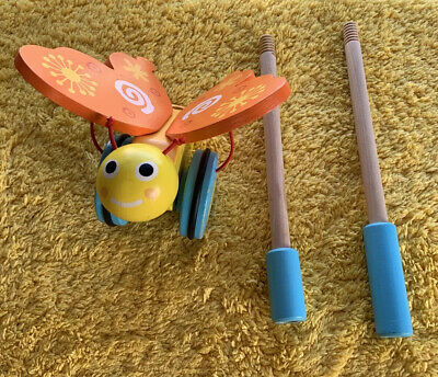 £3.50 • Buy Butterfly Wooden Push Along Toy Kids Toddler Support Balance And Walking