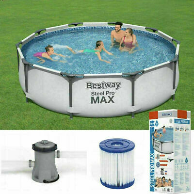 £219.99 • Buy Bestway 10ft Steel Pro Max Above Ground Swimming Pool ✅ Filter Pump✅Fast Postage