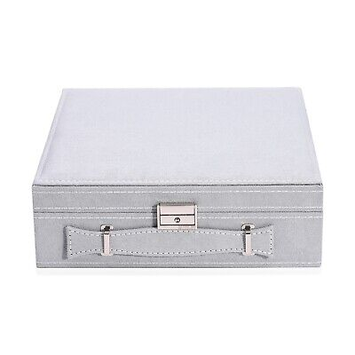 £26.13 • Buy Gray Faux Velvet Briefcase Style Jewelry Box Anti Tarnish Scratch Protection