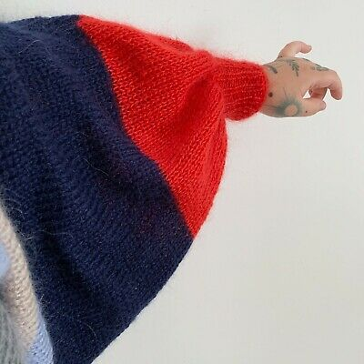 £85 • Buy Hand Made Hand Knitted Mohair Wool Sweater With Balloon Sleeves Huge Slouchy