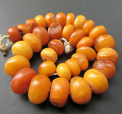£540.77 • Buy Antique Natural Butterscotch Egg Yolk Baltic Amber Beads Necklace 50g.
