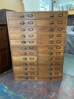 £1295 • Buy Vintage Mid Century Industrial Oak 24 Drawer Museum Collectors Chest Of Drawers