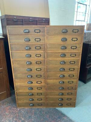 £1295 • Buy Vintage Industrial Oak Mid Century 24 Drawer Museum Collectors Chest Of Drawers
