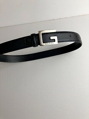 £45 • Buy GUCCI GG G Buckle Belt 90's Authentic Black Leather Size 70 (28UK)