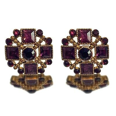 £130 • Buy Antique Amethyst And Yellow Gold Earrings