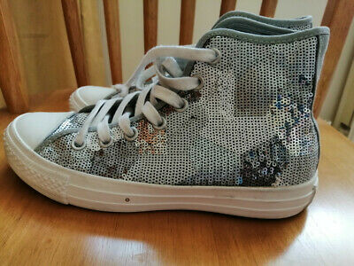£15 • Buy Converse All Star Hi Silver Sequin Exclusive Trainers UK5