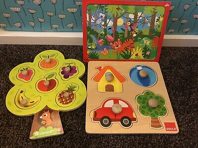 £3.20 • Buy Baby Toddler Wooden Peg Jigsaws Janod Puzzles