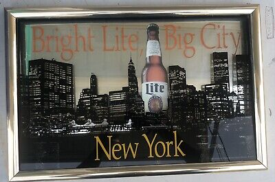 $250 • Buy Vintage Miller Lite NYC Glass Mirror Framed Picture Sign New York World Trade