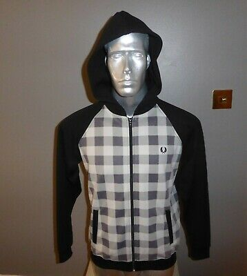 £19.99 • Buy FRED PERRY YOUTH XL ( MANS S - M )  BLACK & CHECKED HOODED BOMBER SWEAT 42 Chest