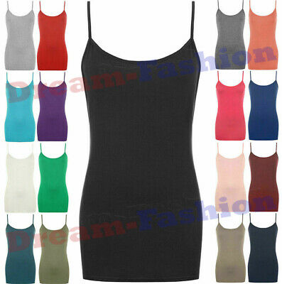 £5.49 • Buy Ladies Scoop Neck Sleeveless Womens Long Stretch Plain Vest Strappy T-Shirt Tops