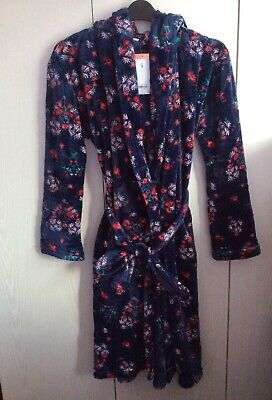 £20 • Buy New Hooded Dorothy Perkins Navy Floral-soft Dressing Gown /bath Robe Size S
