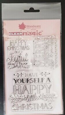 £3 • Buy Woodware Clear Magic Rubber Stamps  - Christmas Greetings. BNIP