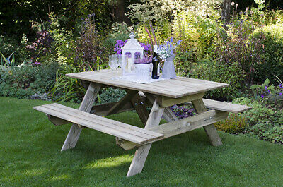 £365 • Buy Traditional Rectangular Wooden Picnic Table And Bench Set - 4 Seater Or 8 Seater
