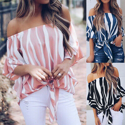 £8.59 • Buy Womens Off Shoulder Tops Blouse Ladies Striped Print Casual Loose T Shirts UK